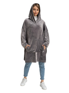 Blanket Hoodie Travel Grey