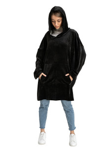 Blanket Hoodie Travel Black