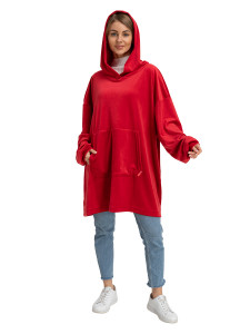 Blanket Hoodie Travel Red